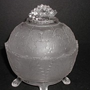 REDUCED 1800s EAPG Oval Satin Glass Tree Branch Footed Grape Leaf Covered Candy Dish Grape ...