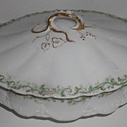 REDUCED 1893 Theodore Haviland Limoges Oval Covered Vegetable Dish Green Scrolls Flowers Fluti