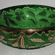 REDUCED old Vintage U. S. Glass Co EAPG Delaware Emerald Green Master Berry Bowl AKA American