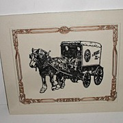 REDUCED H. P. Hood Ice Cream Milk MarbleArt Vermont White Etched Marble Plaque Horse Drawn ...