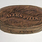 REDUCED 1880s Ayer's Cathartic Wooden Oval Pill Box With Petrified Pills Paper Label
