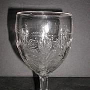 1800s EAPG Bleeding Heart Water Goblet U.S. Glass King Son & Co.