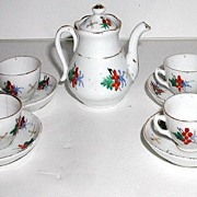 REDUCED Vintage Occupied Japan Hand Painted 9 Pc Tea Set Floral Berry Gold