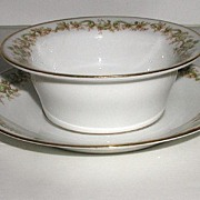 REDUCED Charles Ahrenfeldt Limoges Ramekin Cup & Matching Saucer Liner Floral Scrolls Green &