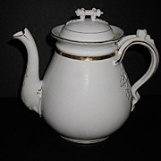 REDUCED 1800s Large Old Paris Porcelain Teapot Gold & White Embossed Leaves