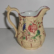 Early Staffordshire Pearlware Pitcher Creamer Yellow Polychrome Relief Floral Embossing