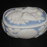 Very Rare 1800s Bennington Parian Blue & White Porcelain Trinket Box Applied Sea Shells & ...