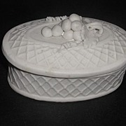 REDUCED 1800s Parian Porcelain Trinket Box Applied Grapes Leaves Vines  Raised Cross Hatch ...