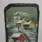 Wonderful Artist Signed Jan McCulloch Ashford CT Oil On Slate Winter House & Barn Scene Painti