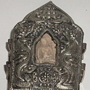 Old Tibetan Gau Traveling Shrine Box With Contents Silver Copper
