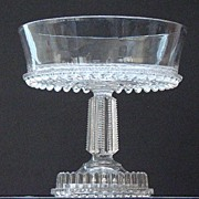 Scarce EAPG Early American Pattern Glass Compote Sawtooth Bottom Pattern King & Son 1888