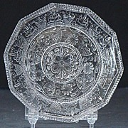EAPG Early American Pattern Glass LR-95 10 Sided Flint Cup Plate 1800s