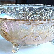 Lovely Imperial Glass Carnival Glass Lustre Rose Footed Fruit Bowl Clambroth Color