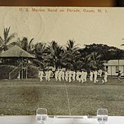 1921 U.S. Marine Band on Parade Guam M. I. Postcard