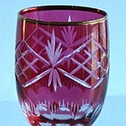 Spectacular Bohemian Cranberry Cut To Clear Wine Stem Gold