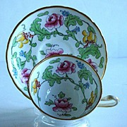 Magnificent Hand Painted Royal Chelsea English Fine Bone China Persian Rose Cup And Saucer ...