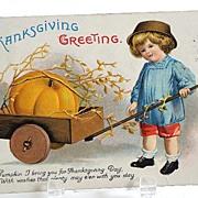 Vintage 1916 Ellen Clapsaddle Thanksgiving Greeting Postcard Pumpkin In Wooden Cart