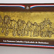 SALE Scarce Spanish Budweiser Beer Clydesdale Horses Copper Hand Hammered Plaque