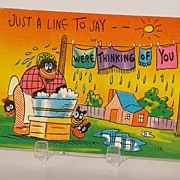 Very Colorful Black Americana Caricature Postcard Just A Line To Say