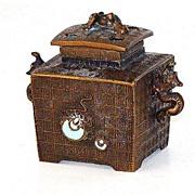Amazing Japanese Bronze Censor Incense Burner Serpents Greek Key Design Heart Shaped Vents Ena