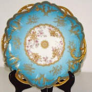 "Amazingly Detailed Haviland Limoges  8  7/8"" Pierced Plate Sky Blue Heavy Gold Leaf Pink"
