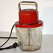 1950s Chicago Electric Red Beater Mixer 24 Ounce Six Sided Owens Illinois Glass Base WORKS