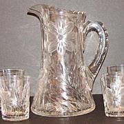 5 PC.Floral Gravic Glass Lemonade Water Pitcher Tankard Set Four Matching Tumblers 6 Lb.