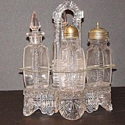 REDUCED EAPG Early American Pattern Glass 5 PC All Glass Caster & Cruet Set