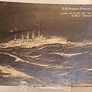 Vintage 1915 Prinz Adalbert S.M. Grosser Kruezer Heavy Cruiser Ship Real Photo Postcard