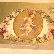 SOLD Wonderful 1908 Embossed Valentine Greeting Postcard Cupid With Bow And Arrow Inset With P