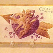Beautiful 1908 Embossed Cupid's Message Postcard Gold Arrow Through Gold Cupids And Purple ...