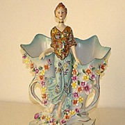 REDUCED Stunning German Two Handled Porcelain Figurine Double Vase Applied Hand Painted Flower