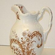 Staffordshire England Brown Transferware Embossed Floral Pitcher EARLY