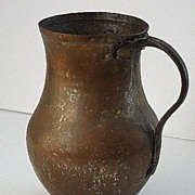 SALE Early Primitive Hand Hammered Handled Copper Water Jug vessel