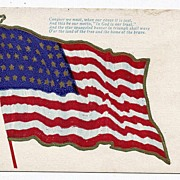 REDUCED 1907 46 Star American Flag Postcard Conquer We Must When Our Cause It Is ...