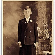 RPPC Real Photo Postcard Boy In Kilts Receiving First Communion