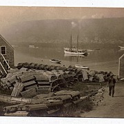 Very Detailed RPPC Real Photo Postcard Fishing Village Lobster Pots Boats Horse & Buggy