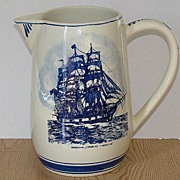 Blue Delft Holland Whale ship Charles Morgan Capturing Sperm Whale Pitcher