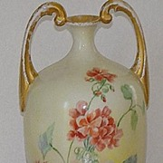 REDUCED Jean Pouyat Limoges J. P. L.Handpainted Muscle Vase Pink & Red Floral