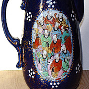Visually Stunning Chinese Scholars Footed  Cobalt Coffee Pot Gold Scrolls Beading