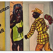 Curt Teich & Co. Black Americana Linen Postcard Surprised To Hear From Me