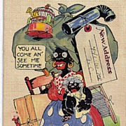 SOLD 1930s Black Americana Caricature Linen Postcard Write To Me I'm On The Move