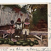 1905 Black Americana Real Life Postcard Eatin Wata Millions E. C. Kropp