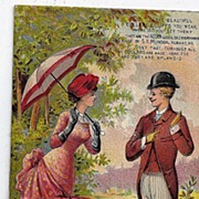REDUCED 1885 Victorian Acorn June calendar Trade Card Acorn Collars & Cuffs S.L. Munson Co.