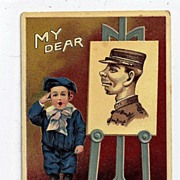 Early 1900s Embossed My Dear Soldier Brother Postcard