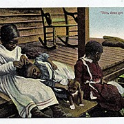 "Early 1900s Black Americana Postcard ""Sho, Done Got Him"""