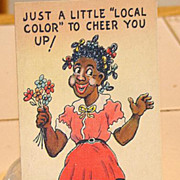 """SOLD Black Americana Linen Postcard Just A Little """"Local Color"""" To Cheer You Up"""