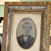 Rare 1875 Full Plate Ferro Chromo Tintype Original Wood Frame C. S, Harley & Co. Arlington MA.