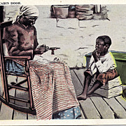 Black Americana Postcard At The Old Cabin Door