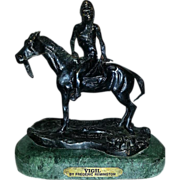 "Cast Bronze Figurine ""Vigil"" Inspired By Frederick Remington Marble Base 14 LBS 6 OZ"